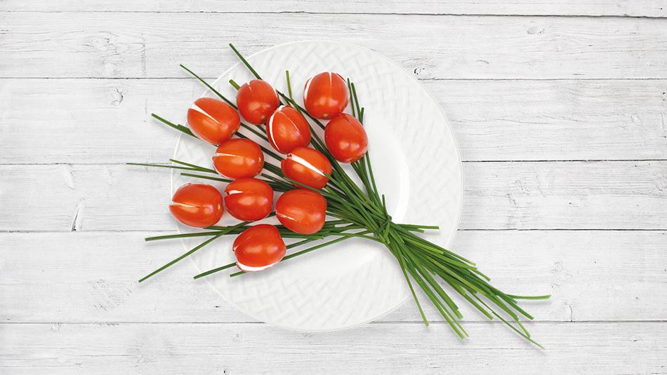 Tomaten-Tulpen gefüllt mit Chavroux DIY